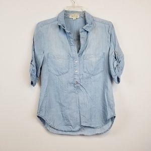 Cloth & Stone denim blue chambrey blouse size xs